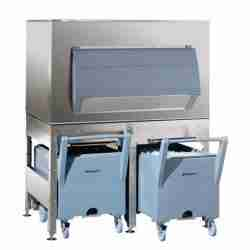 follett ITS1350SG stainless steel ice storage dispensing and transport system with smart carts